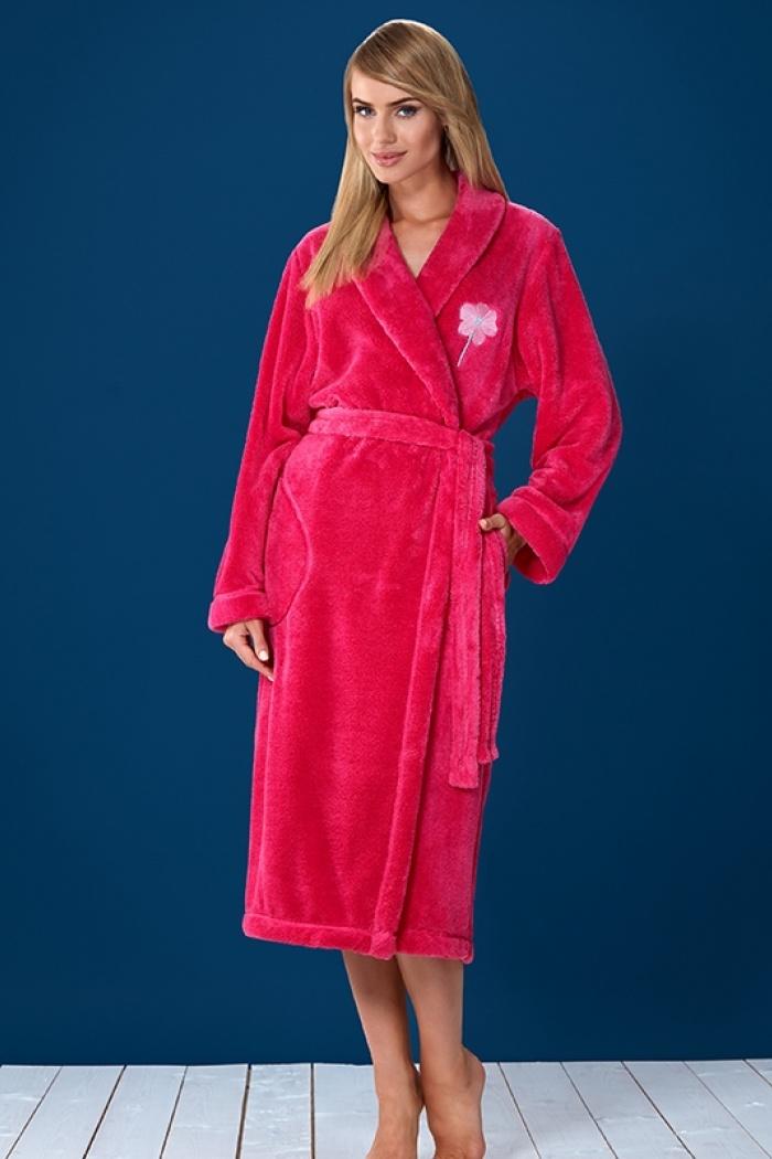 5ae5f6264fec4e Szlafroki damskie długie grube i puszyste w kolorze różowym rozmiar ...