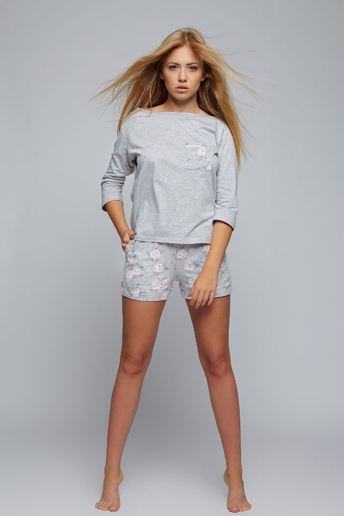 1417b07a800660 Młodzieżowy komplet nocny szary: damska piżama szara, rękaw 3/4 ...