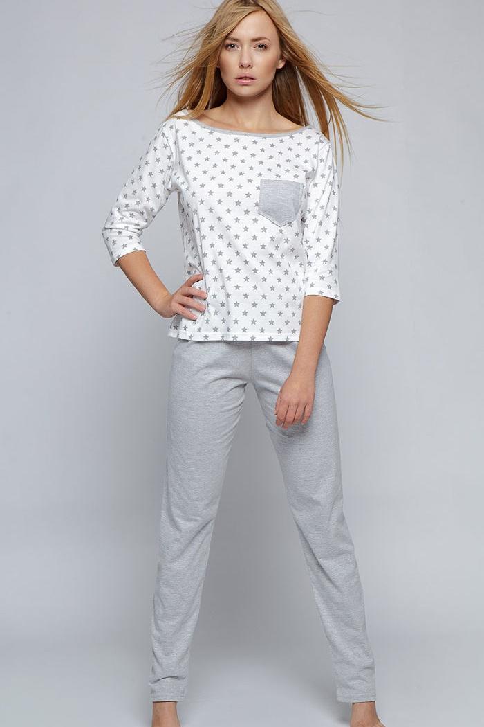84e1afd6bf3274 Piżamy damskie i męskie: damska piżama bawełniana, biała w gwiazdki ...