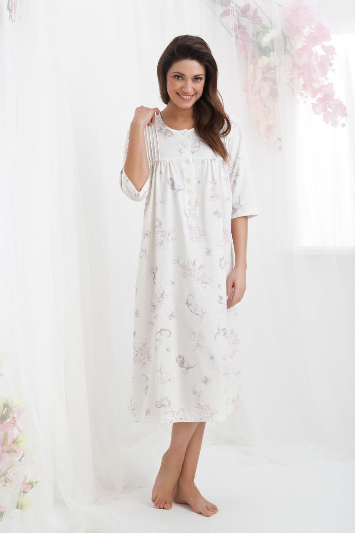 b9d7a90a3a23f5 Koszule nocne damskie: ciepła damska koszula nocna z bawełny długa ...