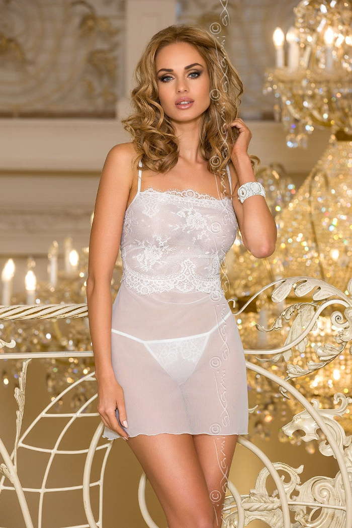 2b6ff5e503544f Seksowna bielizna damska: seksowna koszulka nocna biała Cloches, w ...