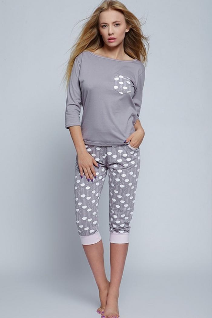 Piżama damska: koszulka rękaw 34 + spodnie 34 Good Day